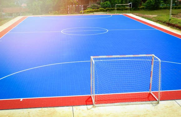 futsal field or football field sport outdoor white line circle center and goal nets